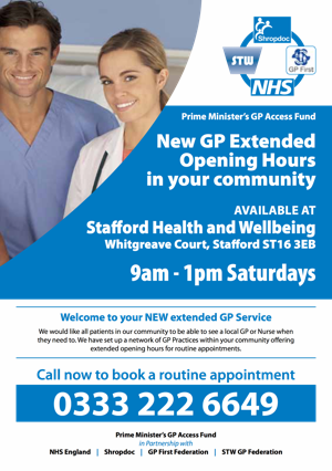 GP Extended Opening Hours in your community available in Stafford 9am - 1pm Saturdays